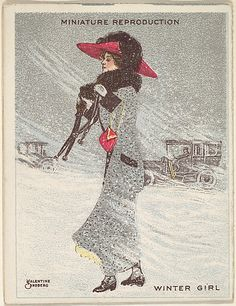 "Valentine Sandberg. Card 315, Winter Girl, from the series ""Artistic Pictures"" (T32), issued by Liggett & Myers Tobacco Company to promote Richmond Straight Cut Cigarettes, 1913–14. The Metropolitan Museum of Art, New York. The Jefferson R. Burdick Collection, Gift of Jefferson R. Burdick (Burdick 242, T32.9) #snow"