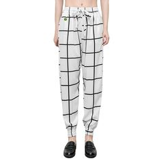 Women Baggy Harem Tapered Pant Trousers Pocket Checkered White