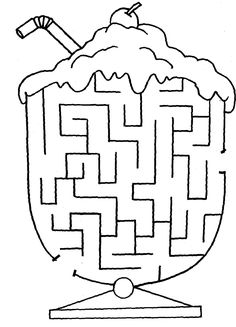 Printable Mazes for Kids. - Best Coloring Pages For Kids Ice Cream Coloring Pages, Printable Coloring Pages, Coloring Pages For Kids, Coloring Books, Ice Cream Games, Ice Cream Theme, Ice Cream Party, Mazes For Kids Printable, Kids Mazes