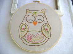 Owl Embroidery  @Rachel R Belcher Mullins  Can I put in an order for one of these?