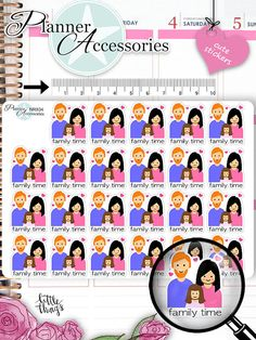 Family Time Stickers Family Stickers Planner by EmelysPlannerShop