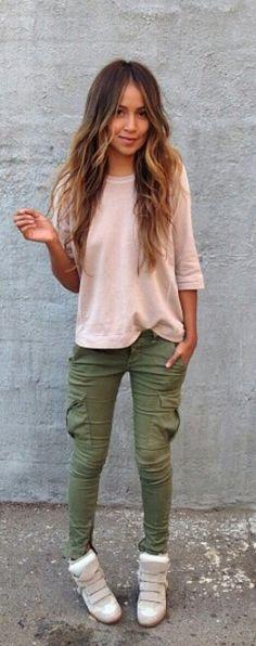 Olive cargos + blush top