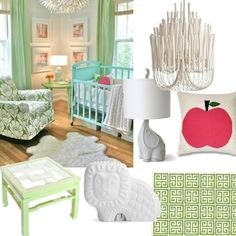 Mint nursery with animal and pink accents