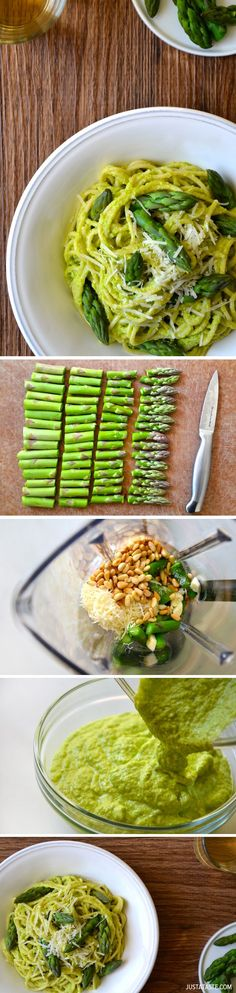 Cheesy Asparagus Pesto Pasta #recipe