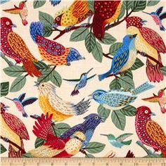 Los Cabos Allover Birds Cream Fabric.com