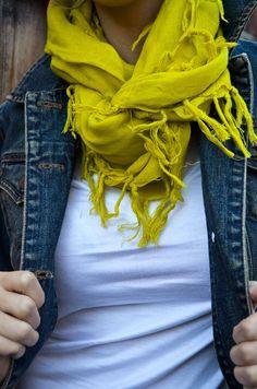 Denim Jacket + white tee + bright scarf