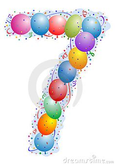 circus / carnival numbers and letters   Balloons And Confetti Number 7 Stock Photo - Image: 4779650