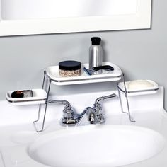 Small Es Over The Faucet Shelf Bathroom Shelves Storage Pedastal Sink