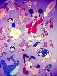Disney cartoon figures including the Three Little Pigs, Snow White, Jiminy Cricket, Chip & Dale, Gertie the Dinosaur, Dumbo, Bambi and Pinocchio