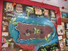 The mural shows the coffee-growing regions of Puerto Rico.