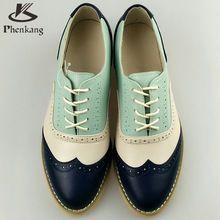 2016 Del cuero Genuino de gran tamaño de la mujer 11 del diseñador de la vendimia plana zapatos de punta redonda hecha a mano azul beige oxford zapatos para mujeres de piel(China (Mainland))