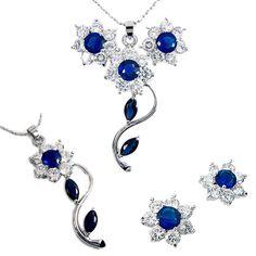 Wedding! Jewelry Set Pearl Pendant Earrings Bracelet For Ladies Dress # SB1027BLU US $11.90
