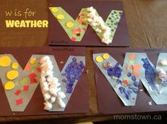 W is for all kinds of Weather - sunny, rainy, snowy and windy. Our momstown letter crafts are a big part of our Alphabet Play program.