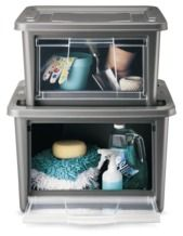 These easy side access and see through Rubbermaid organizers from Target are brilliant. $14.99