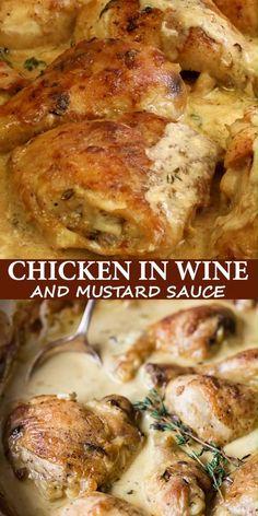 Chicken Thigh Recipes Oven, Baked Chicken Recipes, Healthy Chicken, Oven Chicken, Chicken Cream Sauce, Chicken Marinate, Chicken Wine, Skillet Chicken, Garlic Chicken