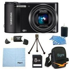Samsung WB150F Smart Wi-Fi Digital Camera Bundle Includes 8 GB Memory Card, Card Reader, Deluxe Carrying Case, Mini Tripod, and 3Pcs. Lens Cleaning Kit. by Samsung, http://www.amazon.com/dp/B007ROOZZ8/ref=cm_sw_r_pi_dp_tesZqb1DJ1Y1Z