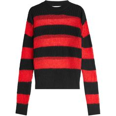 McQ Alexander McQueen Pullover (€250) ❤ liked on Polyvore featuring tops, sweaters, multicolored, multi colored sweater, stripe top, multicolor sweater, colorful sweaters and slim fit sweaters