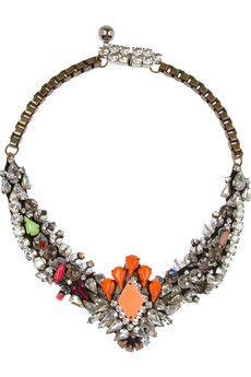 Shourouk   Venus silver-plated Swarovski crystal necklace  
