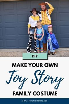 Create the ultimate Toy Story family costume with our DIY costume tutorials for Jessie, Bo Peep & Barbie plus costume ideas for the rest of the family too. This is the perfect Toy Story group costume for fancy dress or Halloween fun #toystorycostumes #toystory #toystoryfamilycostume