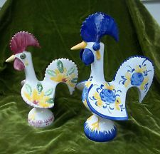 VINTAGE Hand Painted Good Luck ROOSTERS-Portugal-Pottery