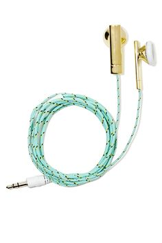 Cute earbuds with rope inspired cording in mint! http://rstyle.me/n/jt75nnyg6