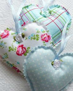 Shabby Chic Blue Polka Dot, Gingham, Floral Hanging Hearts, not with the ribbon roses though ks Valentine Decorations, Valentine Crafts, Valentines, Lavender Bags, Lavender Sachets, Sewing Crafts, Sewing Projects, Fabric Hearts, Satin Roses