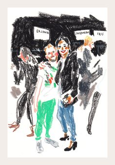 Sketches from NY Fashion Week  Marc and Assistant AD from Chole