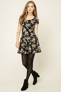 Style Deals - A knit skater dress featuring an allover floral print, a scoop neckline, and short sleeves. Nylons, In Pantyhose, Pantyhose Outfits, Cute Dresses, Casual Dresses, Short Dresses, Casual Outfits, Fashion Outfits, Black Dress Outfits