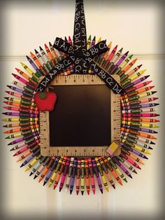Check out this item in my Etsy shop https://www.etsy.com/listing/472463581/back-to-school-crayon-wreath