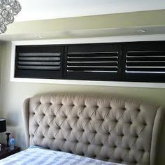 Short Wide Black Plantation Shutters