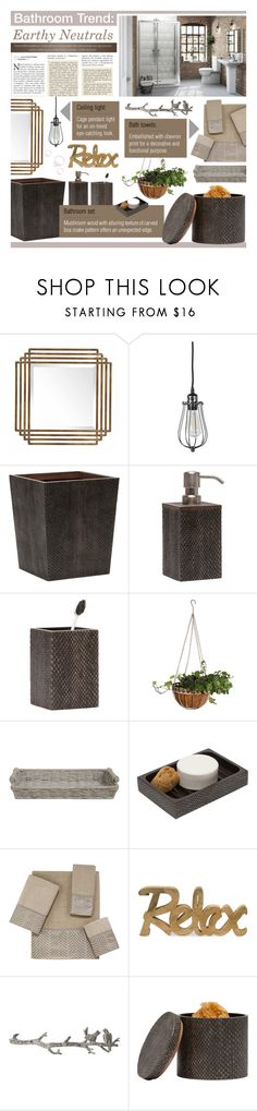 """""""Bathroom Trend: Earthy Neutrals"""" by ealkhaldi ❤ liked on Polyvore featuring interior, interiors, interior design, home, home decor, interior decorating, Pigeon & Poodle, Esschert Design, LaMont and Avanti"""