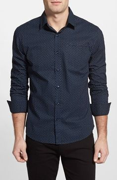 7 Diamonds 'Vanishing Point' Trim Fit Dot Print Woven Shirt available at #Nordstrom