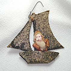 1920s Cotton Batting Santa Claus In Mica Sailboat Christmas Ornament