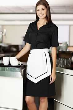 Simon Jersey white short apron with black contrast trim £7.19 // Housekeeping apron, waitress apron, host uniform, hospitality uniform, tea apron, traditional waitress uniform. Perfect for waitresses, hostesses, front of house staff, catering, retail, cafes, coffee shops, hospitality, hotels, hoteliers, etc.