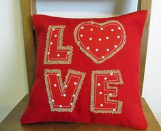 Burlap and fabric Valentine's Pillow