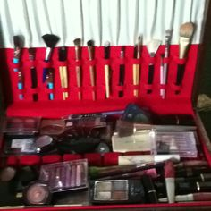 An old silverware case turned into a makeup case!