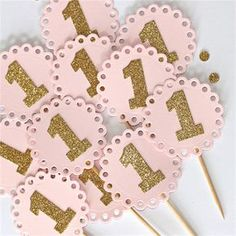 1st Birthday Cupcake Toppers - baby pink and gold glitter Set of 12