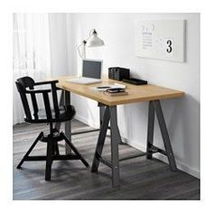 IKEA - ODDVALD, Trestle, , Solid wood is a durable natural material. (Black table legs for center table to tie in black chairs?)