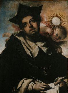 Saint Thomas Aquinas / Santo Tomás de Aquino // circa 1656 // Francisco de Herrera (EL MOZO) // Museo de Bellas Artes de Sevilla // #Dominicanes #Eucharist #Eucaristía