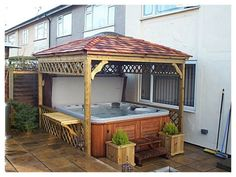 Hot tub pergola plans Cedarshed Spa Gazebos come in 3 sizes and make great hot tub enclosures Hot Tubs Gazebo Design So their cedar pergola Hot Tub Pergola, Hot Tub Backyard, Hot Tub Garden, Patio Gazebo, Diy Pergola, Pergola Swing, Pergola Shade, Pergola Kits, Cedar Pergola