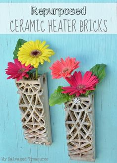How to turn old ceramic heater bricks into decorative wall pockets for holding fresh flowers. From MySalvagedTreasures.com