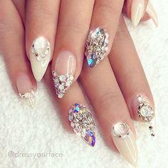Cream and crystal stilettos