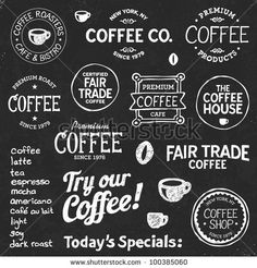 stock vector : Set of coffee shop sketches and text symbols on a chalkboard background