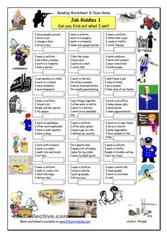 This worksheet focusing on jobs vocabulary can either be used as an individual or team reading exercise (page 1) or as a team game (page 2). As an extension, you can even make it into a writing lesson which students will surely enjoy. Full instructions provided on page 3. Have fun. - ESL worksheets