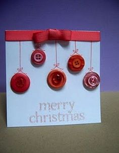 Do you purchase pre-made holiday cards or do you create your own?I usually create my own cards. Christmas Cards To Make, Vintage Christmas Cards, Handmade Christmas, Christmas Crafts, Merry Christmas, Button Christmas Cards, Cool Cards, Diy Cards, Button Cards