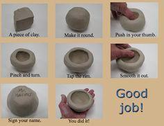 Clay art for kids ideas pinch pots 50 Ideas Clay Pinch Pots, Ceramic Pinch Pots, Ceramic Clay, Ceramic Bowls, Clay Projects For Kids, Kids Clay, Clay Art For Kids, Pottery Techniques, Pottery Classes