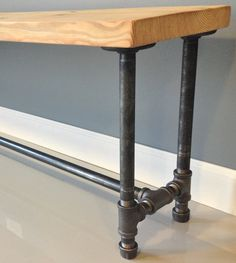 72L Reclaimed Wood Bench Industrial Pipe Leg Free by DendroCo, $359.00