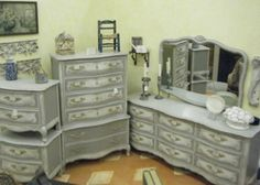 French Provincial Bedroom Furniture Redo the weathered door: grey french provincial nightstands | french