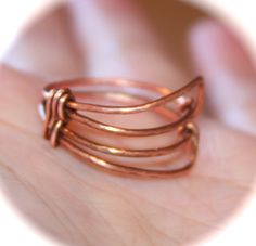 Geometric Copper Ring, Handmade Ring, Double Triangle Ring by BirchBarkDesign on Etsy