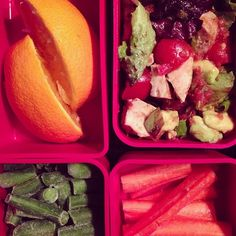 #getreal lunch: pastured chicken, tomatoes, avocado, green onions and baby Romaine tossed with salsa (Jack's mild); carrots, oranges and green beans (frozen)